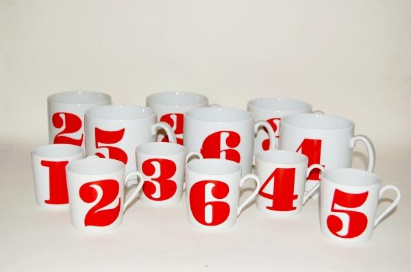 numbered coffee/tea mugs